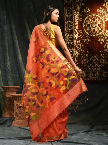 Orange Resham Matka hand woven saree with floral work in pallu 1