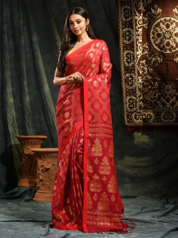 Red organic Linen hand woven saree with floral work all over 0