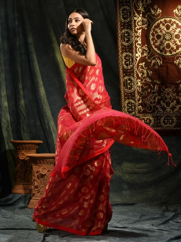 Red organic Linen hand woven saree with floral work all over