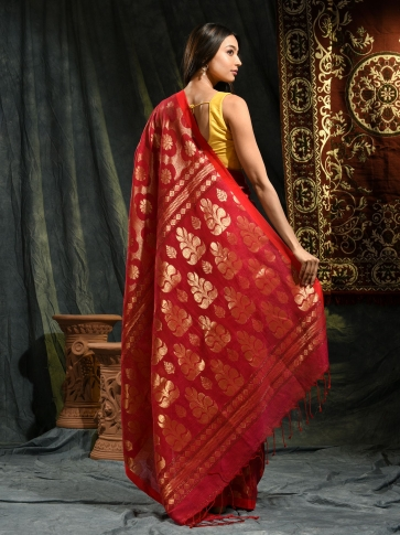 Red organic Linen hand woven saree with floral work all over 1