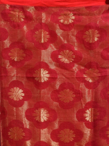 Red organic Linen hand woven saree with floral work all over 2