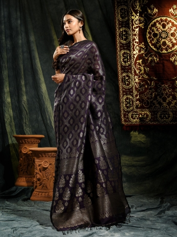 Violet organic Linen hand woven saree with floral work all over 0