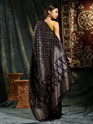 Violet organic Linen hand woven saree with floral work all over 1