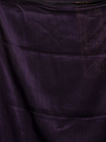 Violet organic Linen hand woven saree with floral work all over 2