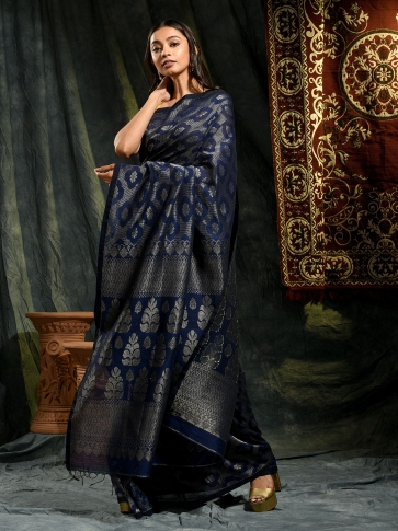 Violet organic Linen hand woven saree with floral work all over