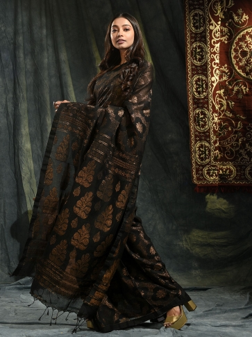 Black organic Linen hand woven saree with floral work all over