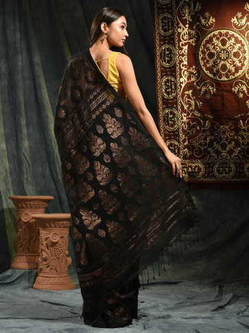 Black organic Linen hand woven saree with floral work all over 1