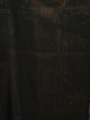 Black organic Linen hand woven saree with floral work all over 2