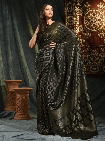 Black organic Linen hand woven saree with floral work all over 0