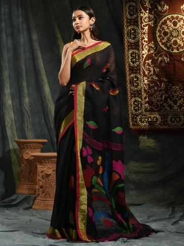 Black pure Linen hand woven saree with Jamdani work in pallu 0