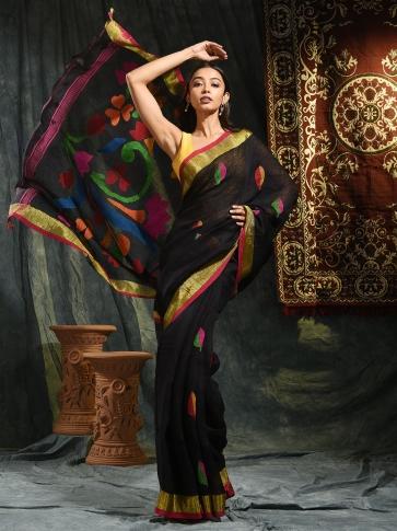 Black pure Linen hand woven saree with Jamdani work in pallu