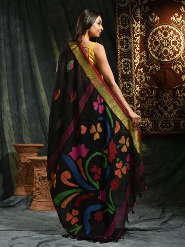 Black pure Linen hand woven saree with Jamdani work in pallu 1