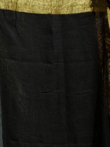 Black pure Linen hand woven saree with Jamdani work in pallu 2