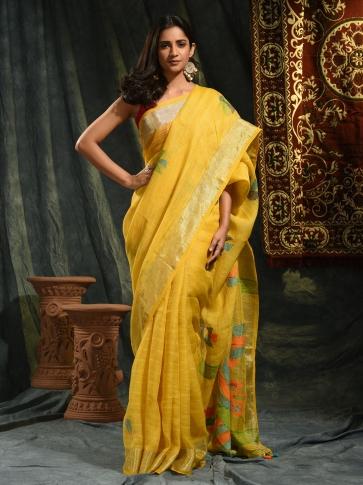 Mustered hand woven Linen saree with Jamdani work in pallu