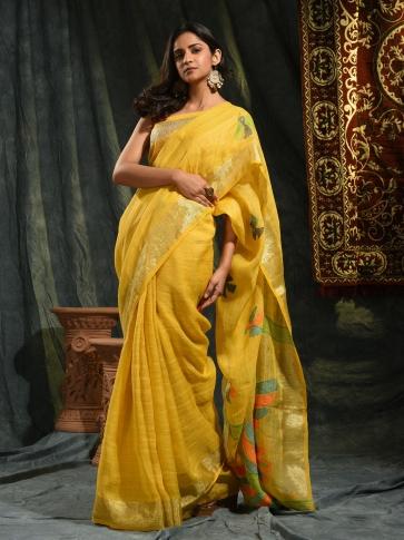 Mustered hand woven Linen saree with Jamdani work in pallu 0