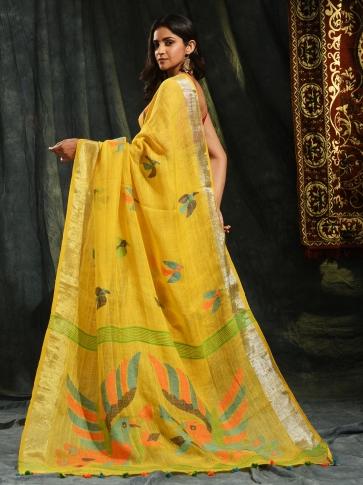 Mustered hand woven Linen saree with Jamdani work in pallu 1