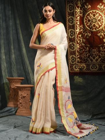 Cream hand woven Linen saree with Jamdani work in pallu 0