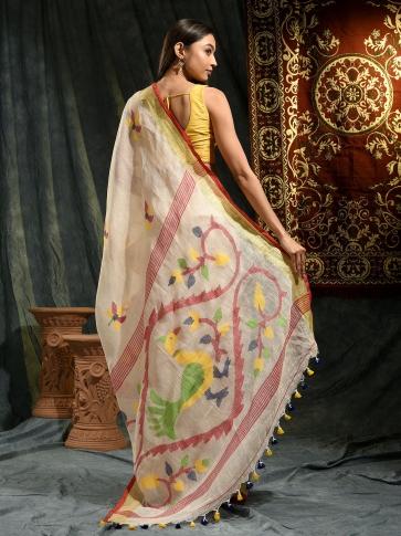Cream hand woven Linen saree with Jamdani work in pallu 1