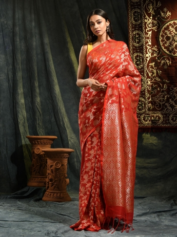 Red pure linen hand woven saree with zari 0