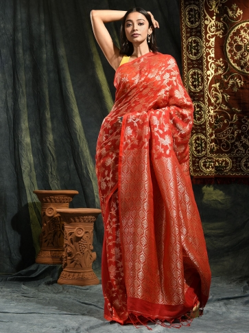 Red pure linen hand woven saree with zari