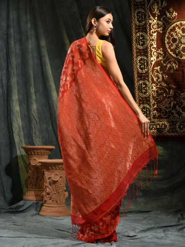 Red pure linen hand woven saree with zari 1
