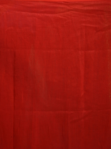 Red pure linen hand woven saree with zari 2