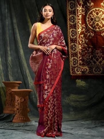 Magenta pure linen hand woven saree with zari 0