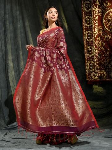 Magenta pure linen hand woven saree with zari 1