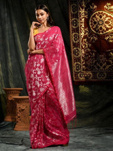 Pink pure linen hand woven saree with zari