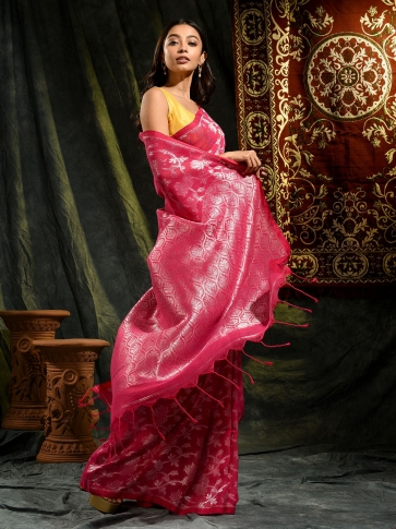 Pink pure linen hand woven saree with zari 0