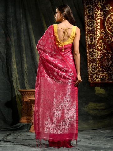 Pink pure linen hand woven saree with zari 1