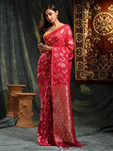 Red hand woven Linen saree with zari work
