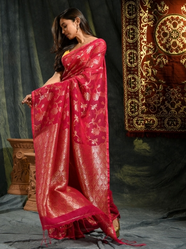 Red hand woven Linen saree with zari work 0