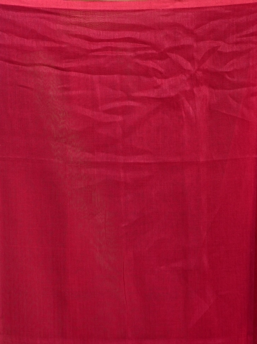 Red hand woven Linen saree with zari work 2