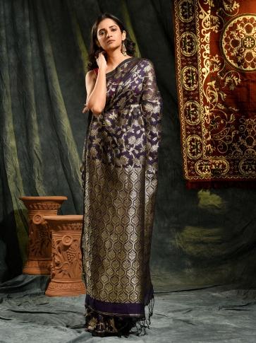 Blue pure linen hand woven saree with zari 0