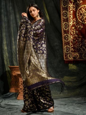 Blue pure linen hand woven saree with zari
