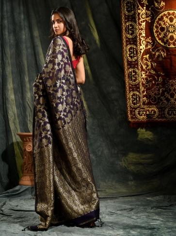 Blue pure linen hand woven saree with zari 1