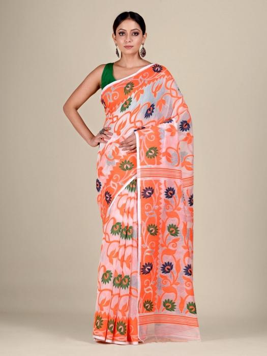 White  and Orange silk Cotton hand woven soft Jamdani saree with floral weaving