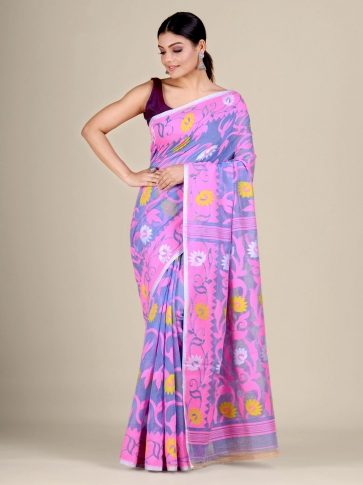 Blue and Pink silk Cotton hand woven soft Jamdani saree with floral weaving