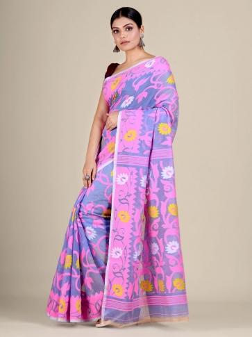Blue and Pink silk Cotton hand woven soft Jamdani saree with floral weaving 0