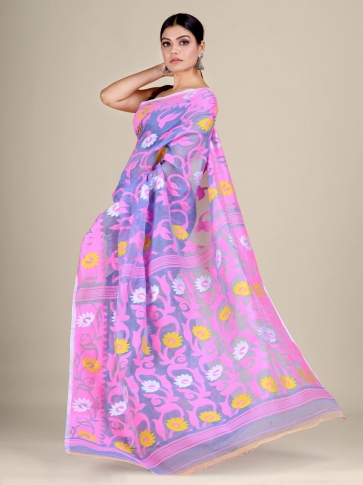 Blue and Pink silk Cotton hand woven soft Jamdani saree with floral weaving 1