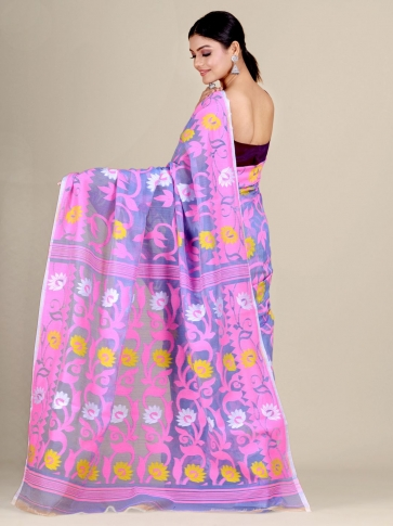 Blue and Pink silk Cotton hand woven soft Jamdani saree with floral weaving 2