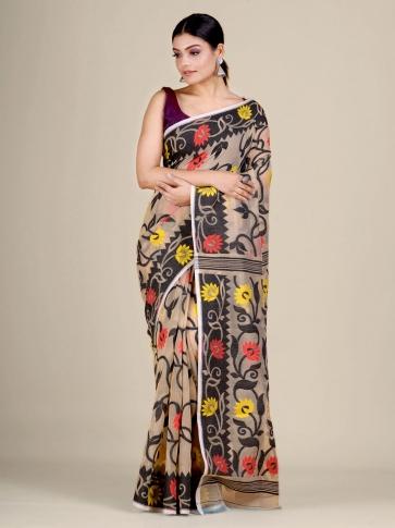 Beige and Black silk Cotton hand woven soft Jamdani saree