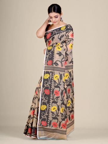 Beige and Black silk Cotton hand woven soft Jamdani saree 0