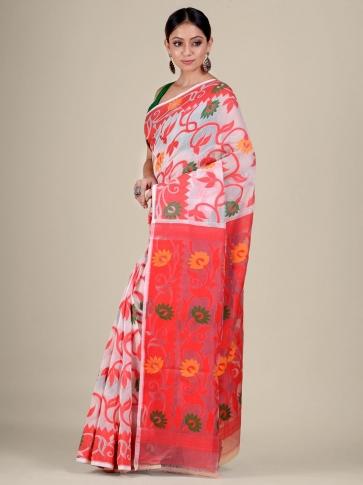 White and Red silk Cotton hand woven soft Jamdani saree 2