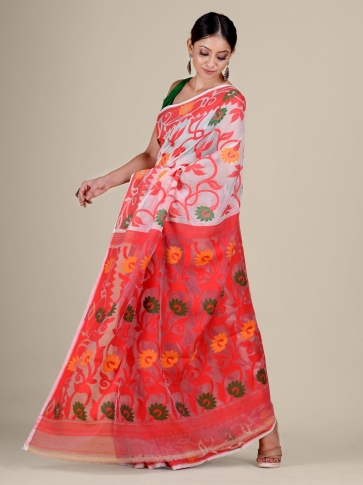 White and Red silk Cotton hand woven soft Jamdani saree 0
