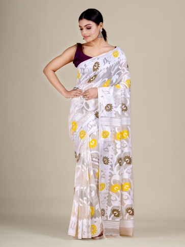 White  silk Cotton hand woven soft Jamdani saree with multicolor floral weaving