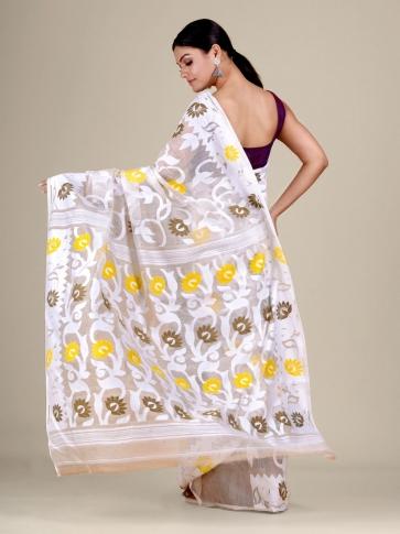 White  silk Cotton hand woven soft Jamdani saree with multicolor floral weaving 2