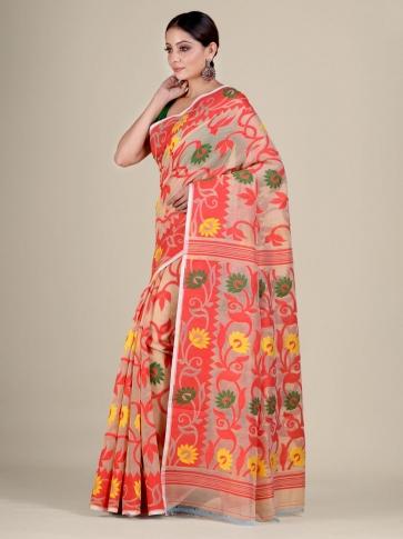 Beige and Red silk Cotton hand woven soft Jamdani saree 0