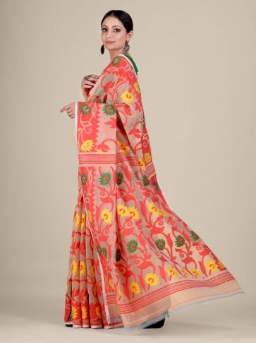 Beige and Red silk Cotton hand woven soft Jamdani saree 1